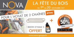 offre nova Du 1er au 20 Novembre 1 chaîne de tronçonneuse STIHL achetée la 2ème à -50% et un bidon de 1 litre d'huile STIHL OFFERT