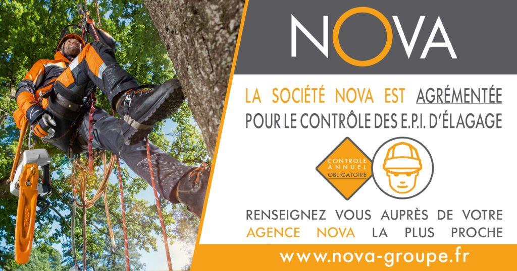 Nova groupe est agrémenté pour le contrôle de vos équipements de protection individuelle d'élagage