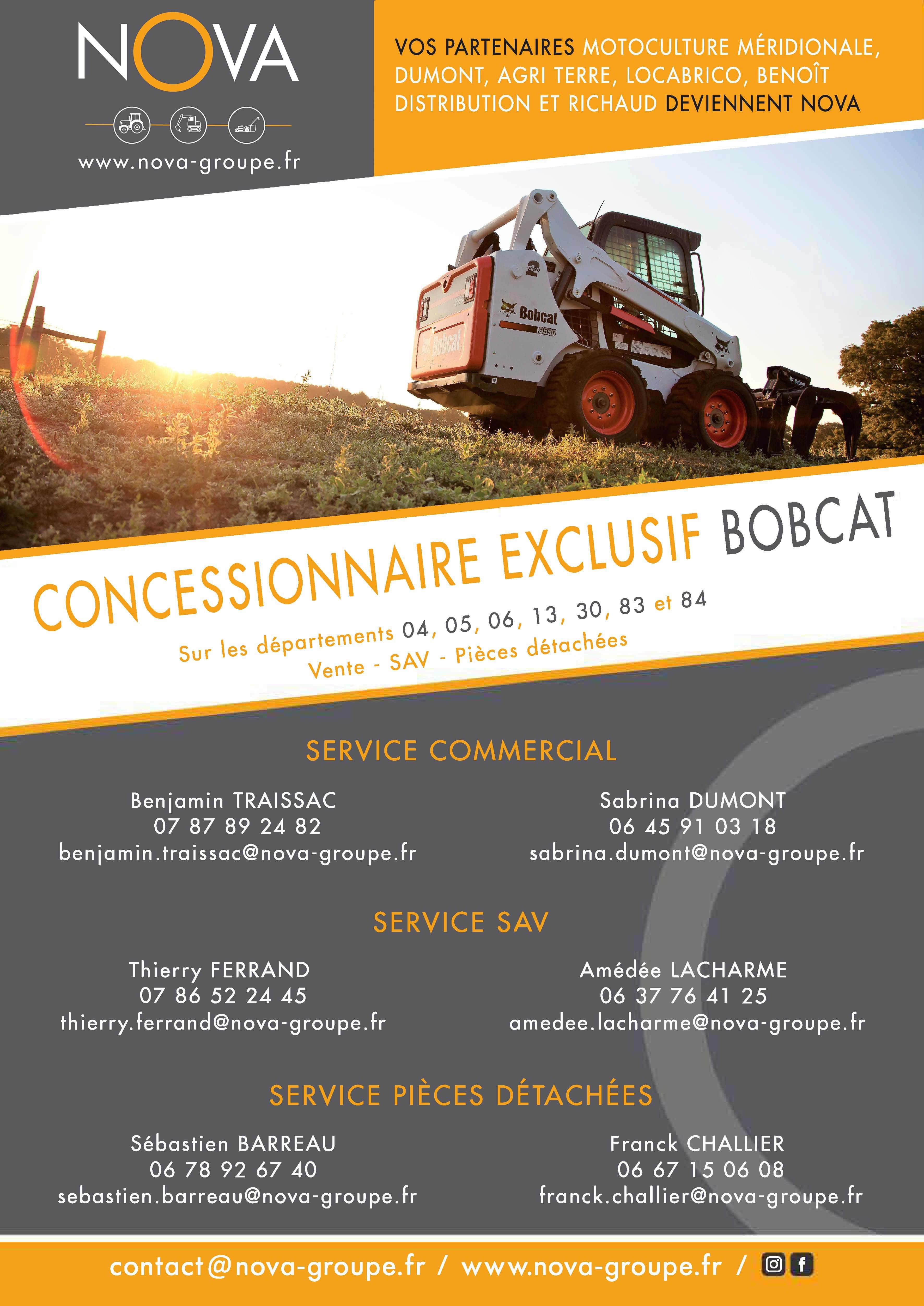 Nova groupe : votre concessionnaire exclusif sur la région paca matériels BOBCAT pour réaliser des travaux chez un particulier ou un professionnel avec votre entreprise secteur Aix Marseille , location à la journée, week end, semaine pro et particulier chez nova.