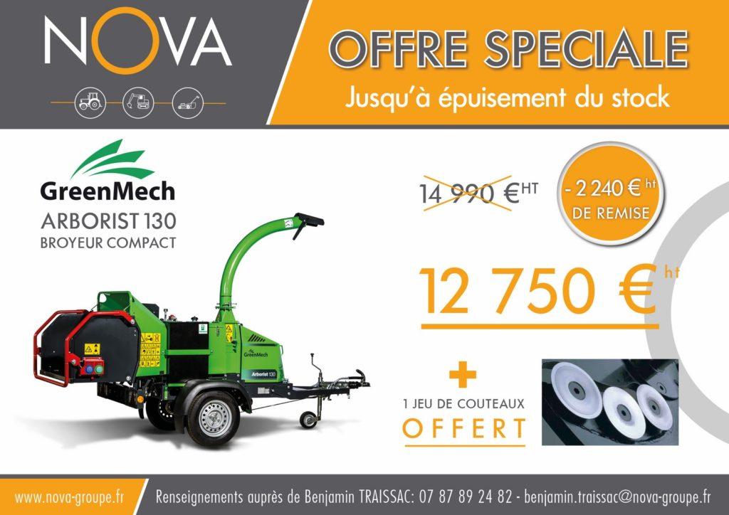 Promotion Offre speciale Chez nova paca : broyeur branches et vegetaux arborist greenmech avec 2 240€ de remise et 1 jeu de couteaux offert! jusqu'à épuisement du stock