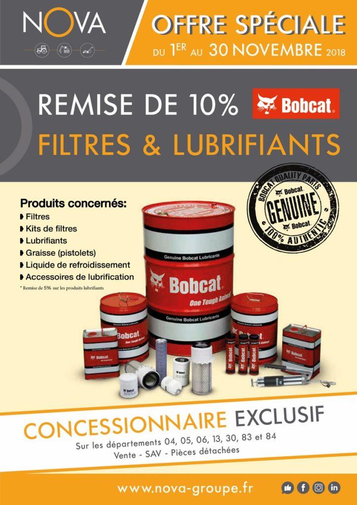 promotion remise 10 pourcent sur filtres et lubrifiants bobcat chez nova paca