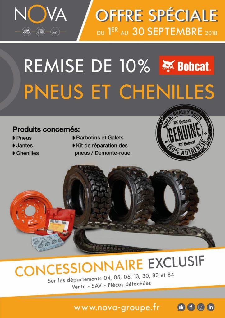 promotion bobcat remise 10% sur pneus et chenilles bobcat chez nova votre concessionnaire exclusif en region paca