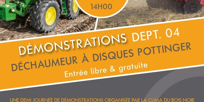 demonstration dechaumeurs pottinger 18 sept 2018 à Bellaffaire (dept.04)
