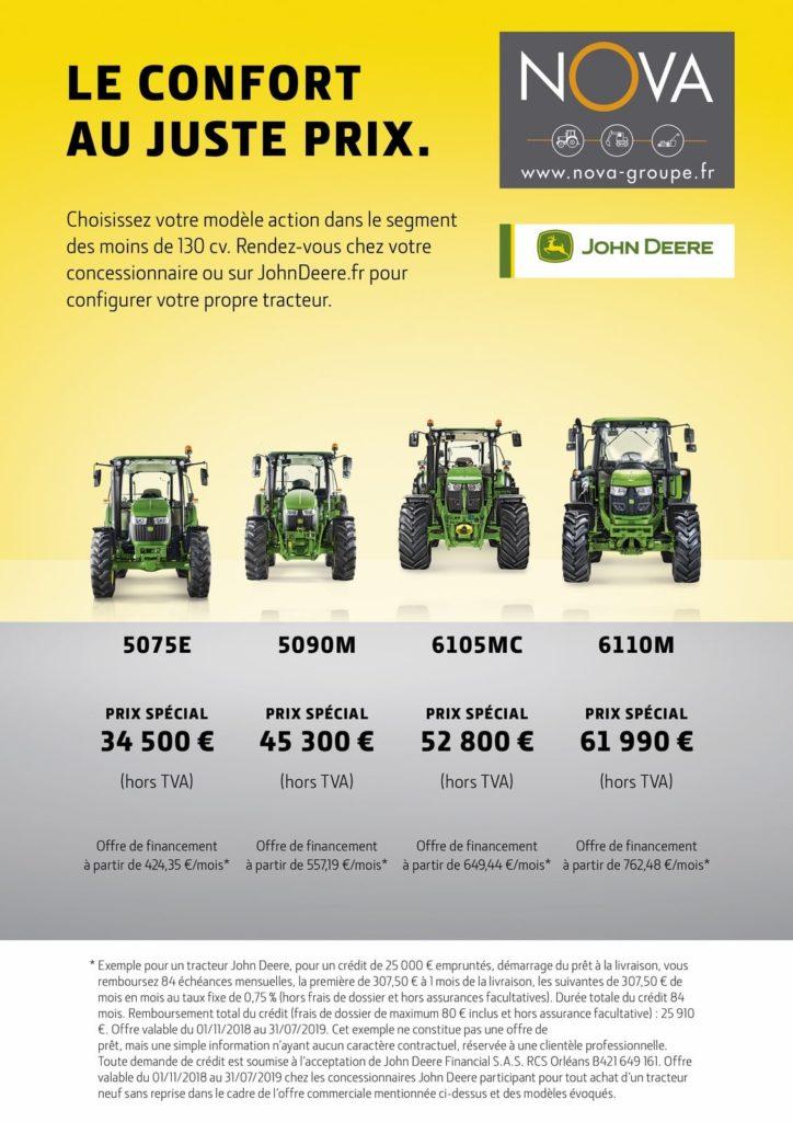 Tracteurs john deere le confort au juste prix chez Nova. 3038E 4049M 5050E 5075E 5090M 5100R 6105MC 6115RC 6110M 6130R