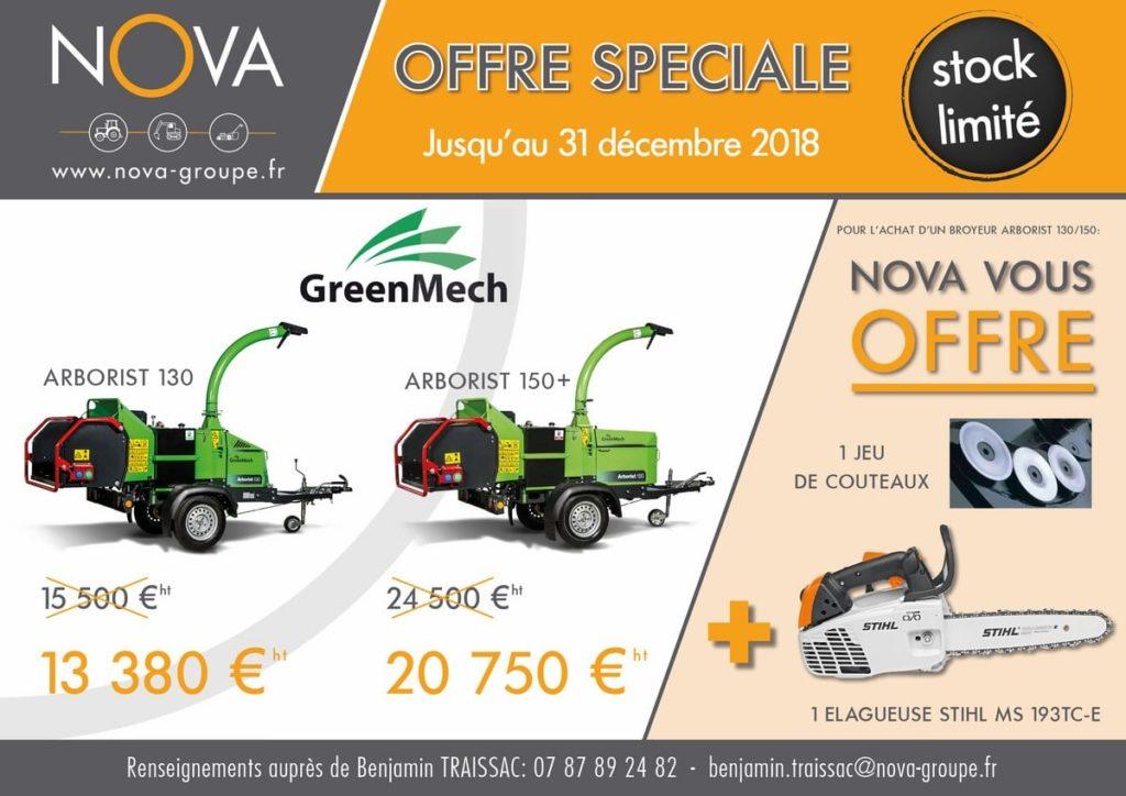 promotion broyeur ARBO130 - 150 Greenmech Decembre 2018 elagueuse offerte