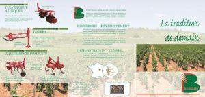 Gamme de produits : pulvériseurs à disques, tarières, cadre pour tracteur interlignes, perche pousée pour tracteurs enjambeurs