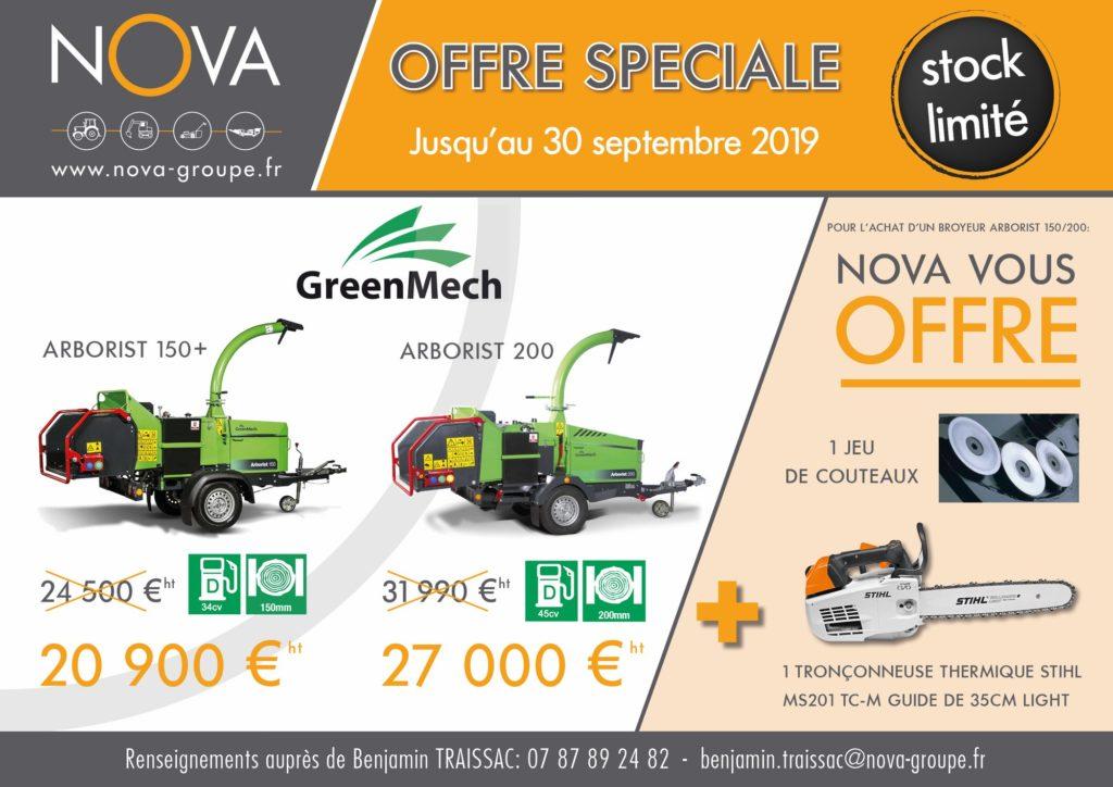 promotion GREENMECH ARBORIST 150 - 200 Aout Septembre 2019 (NOVA)