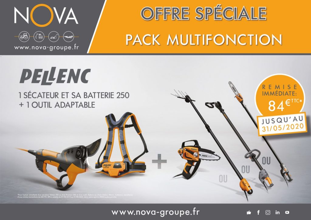 offre pellenc secateur à batterie et outil multifonction chez Nova PAACA