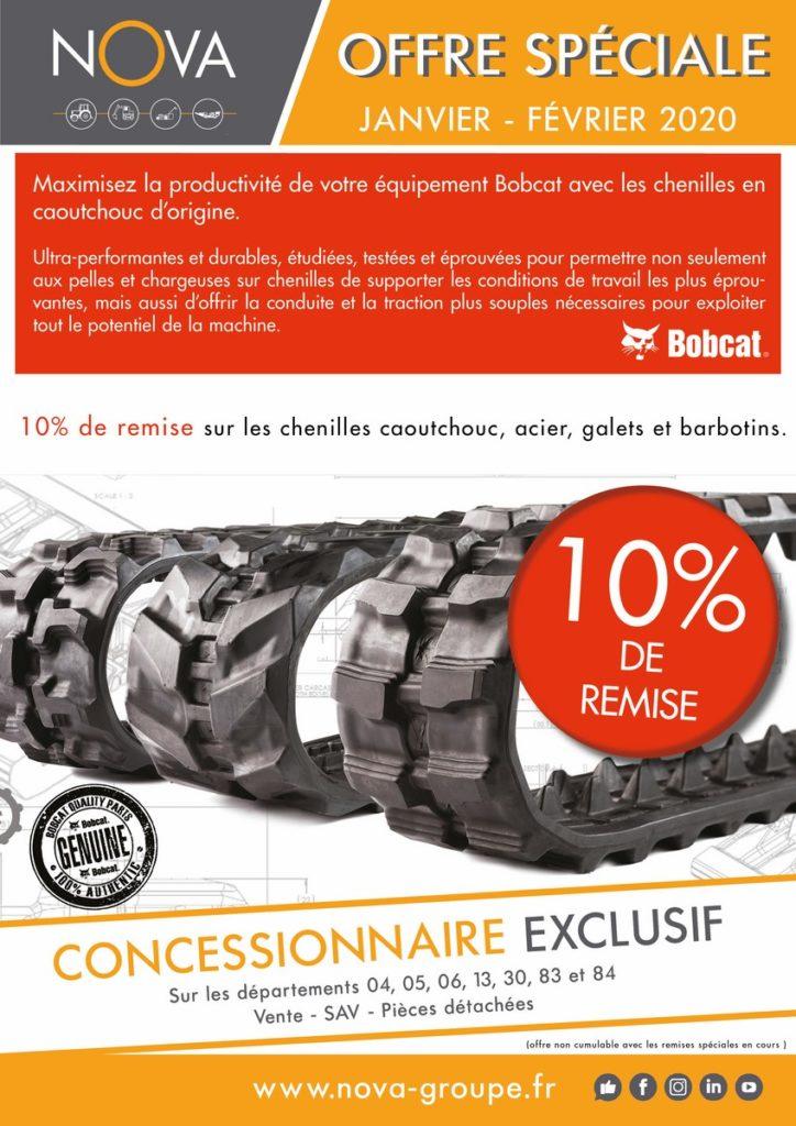 remise 10 pourcent sur les chenilles bobcat Janvier 2020 (promotion nova bobcat paca)