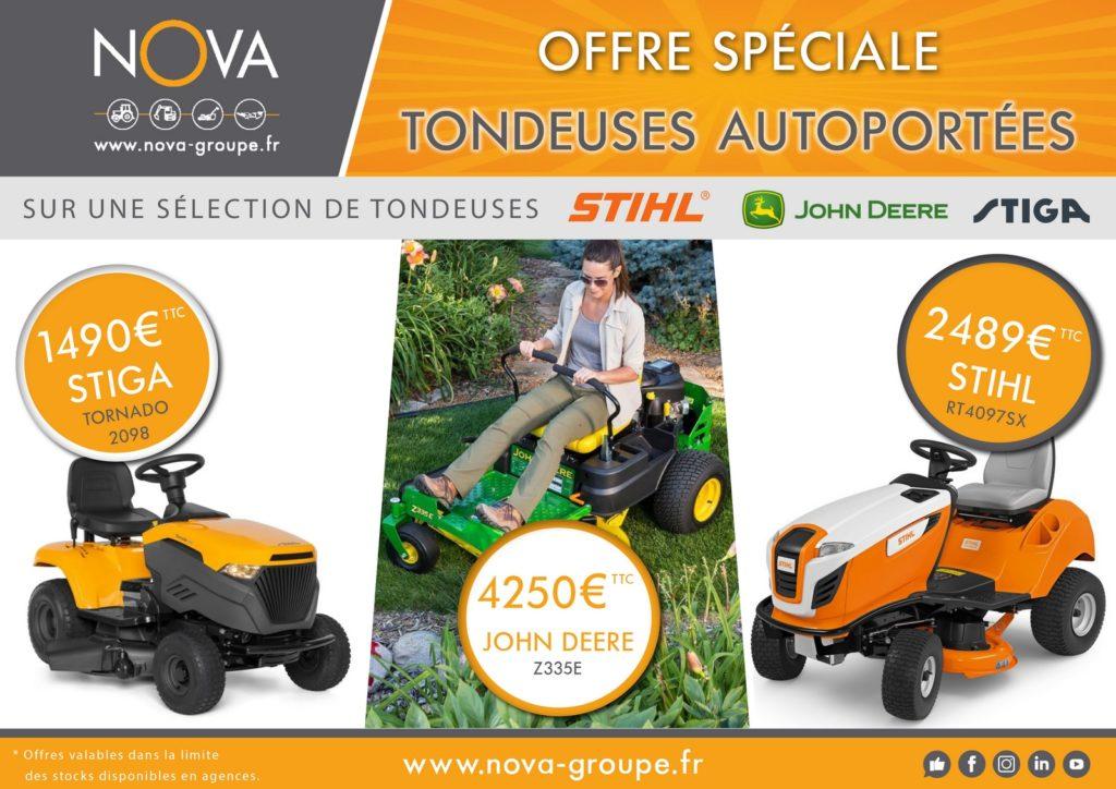 promotion entrée de gamme tondeuse autoportée jardin pelouse stiga john deere stihl chez nova paca