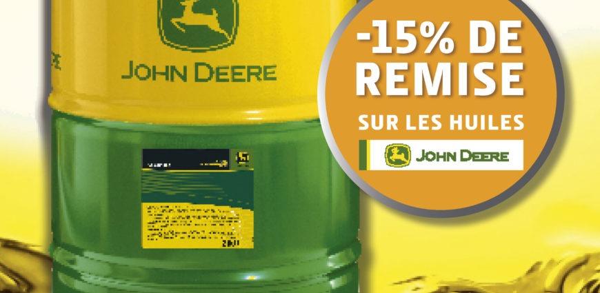 15 % de remise sur les huiles John Deere Hy-gard et Plus 50II