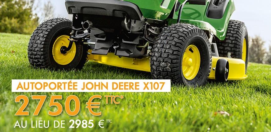promotion bandeau tondeuse john deere x107 printemps 2021
