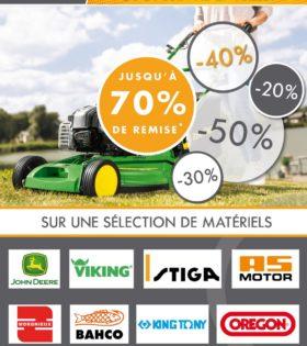 soldes été 2021 NOVA GROUPE - 30 % sur une sélection de tondeuses JOHN DEERE - 40 % sur la gamme VIKING - 20 % sur la gamme STIGA - 50 % sur la gamme AS MOTOR - 30 % sur les outils tracteur MORGNIEUX - 70 % sur la gamme équestre - 30 % sur une sélection de vêtements et produits dérivés - 30 % sur l'outillage BAHCO (hors outil de taille) - 20 % sur l'outillage JOHN DEERE - 20 % sur l'outillage KING TONY - 50 % sur les têtes de fil débroussailleuse OREGON - 40 % sur les pièces New holland (hors secoueur) - 25 % sur la gamme TORO - 70 % sur les phares de travail (ancienne gamme / hors led) - 30 % sur les fraises à neige TORO et YANMAR