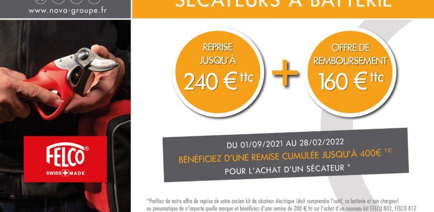 🚨 OFFRE SPECIALE SECATEURS FELCO ! 🚨 ▶️ 𝗝𝘂𝘀𝗾𝘂'𝗮̀ 𝟯𝟲𝟬€ 𝗱𝗲 𝗿𝗲𝗺𝗶𝘀𝗲 𝗰𝘂𝗺𝘂𝗹𝗲́𝗲 pour l'achat d'un sécateur Felco 802/812/822 avec kit batterie Compact ou Power+. 😍 ➡️ Reprise de votre ancien sécateur jusqu'à 200€ ➡️ Remboursement différé de 160€ Après remises : - FELCO 802 à partir de 995€ ht - FELCO 812 à partir de 1035€ ht - FELCO 822 à partir de 1145€ ht ⏳ Offre valable jusqu'à épuisement du stock jusqu'au 28/02/2022. 📍 A découvrir dans nos agences : https://www.nova-groupe.fr/fr/nos-agences
